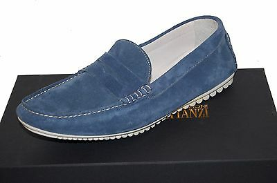 2aae5fc86e7 Gianfranco Lattanzi Men s Blue Loafers Suede Italy Shoes Size EU 45 US 12  NEW