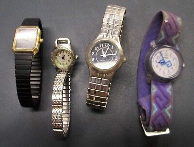 LOT of 4 mixed Wrist Watches 2 Timex Some Vintage all need batteries for parts