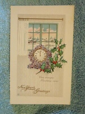 Vintage Postcard New Year's Greetings, Window Scene, Clock And Holly