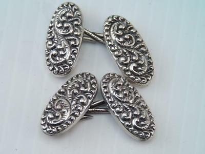 Antique Art Nouveau Sterling Silver Cufflinks Ornate Scroll Design Gorgeous