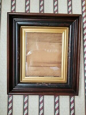 Antique Large Victorian Deep Eastlake Walnut Shadow Box Picture Frame 3 Tiered