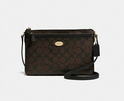ace279ac68740 NWT Coach East West Crossbody with Pop Up Pouch Signature Canvas F58316 $225