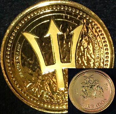 2018 Barbados Trident 1 oz .999 Silver 24K Gold Gilded BU Proof Like Free Ship