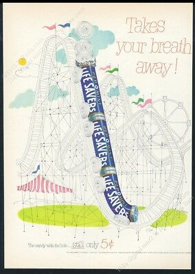 1952 Life Savers candy LifeSavers roller coaster art vintage print ad