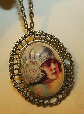 Lovely Lacy Capped Old-Fashioned Girl Swirled Rim Brasstone Pendant Necklace