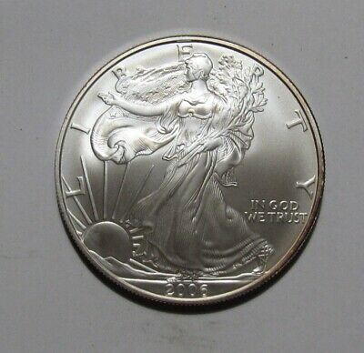 2006 W (Burnished) American Silver Eagle Dollar - BU Condition - 44SA