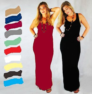 Ladies Sleeveless Long Jersey Muscle Back Racer Back Bodycon Vest Maxi Dress