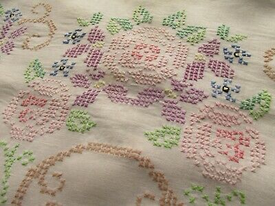 Vintage Hand Embroidered Irish Linen Tablecloth-BEAUTIFUL FLORAL'S THROUGHOUT