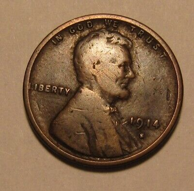 1914 S Lincoln Cent Penny - Very Good to Fine Condition - 5SA-2