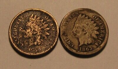 1859 & 1863 Indian Head Cent Penny - Circulated Condition - 8SA-2