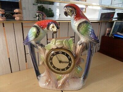 """Lovely Ceramic Two Parrot Mount With Hand Wind Clock, 9.5"""" High, Clock Is 3.25"""""""