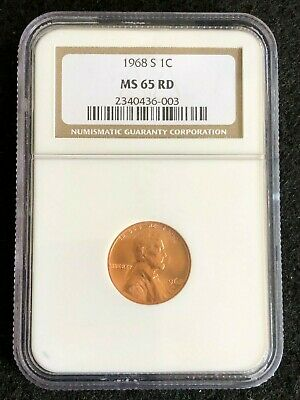 1968-S Lincoln Memorial Cent 1c Graded NGC MS65 RD Free Same Day Shipping.