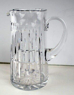 """Vintage Clear Cut Glass Pitcher Heavy Thick Water Breakfast Juice 8.5"""" Crystal"""