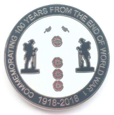 100 Years Lest We Forget 1918 - 2018 Commemorative Enamel Lapel Pin Badge