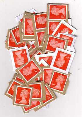 100 x 1st class Red UNFRANKED stamps on paper.