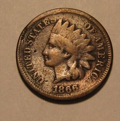 1866 Indian Head Cent Penny - Very Good Details / Damaged - 129SA