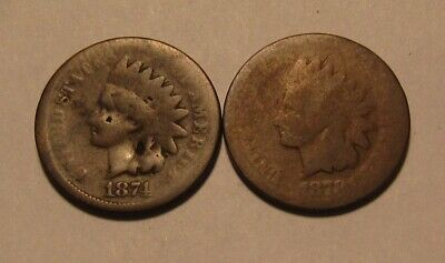 1874 & 1878 Indian Head Cent Penny - About Good Condition - 137SA