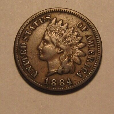 1884 Indian Head Cent Penny - Very Fine + Condition - 144SA