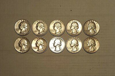 $2.50 Face Value (All 1964) Washington Quarters 90% Silver (Lot Of 10 Coins)