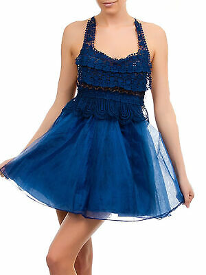 Navy Blue Lace & Tulle Baby Doll Dress
