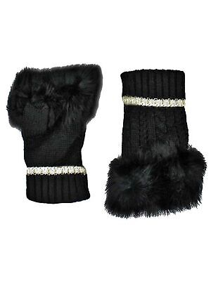 Chic Womens Fingerless Gloves With Faux Fur Trim
