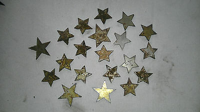 Lot of 20 Rusty Rough Stars 1-2 in Metal Wall Art Stencil Ornament Craft Sign