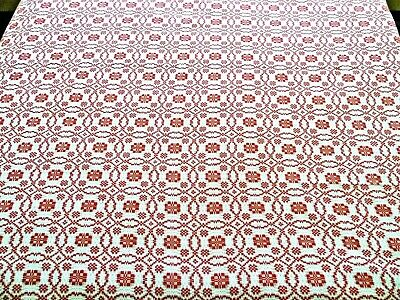 """Antique Red and Ivory Overshot Coverlet / Bedspread - 85"""" X 100"""""""