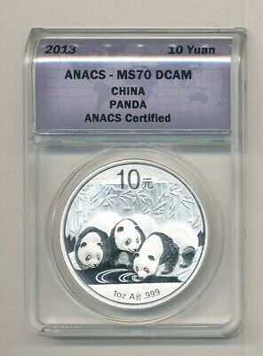 2013 China Silver Panda ANACS MS 70 DCAM 10Y 1 oz .999