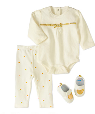 ae6ab90aac Bon Bebe Baby Girls Outfit Bodysuit Pants Heart Shoes Gold Ivory NIP 3 6 9  mos