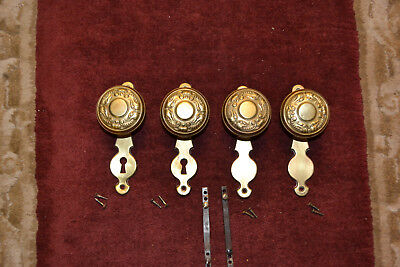 2 Sets Of Antique Vintage East Lake Brass Door Knobs Face Plates  #30