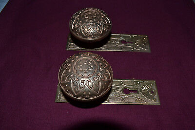 Antique Vintage Aesthetic Set Of Solid Brass Door Knobs Face Plates  #90