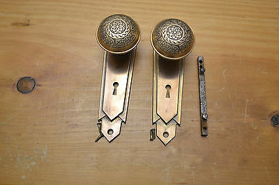 Antique Vintage Aesthetic Eastlake Brass  Matching Door Knobs & Faceplates  # 61