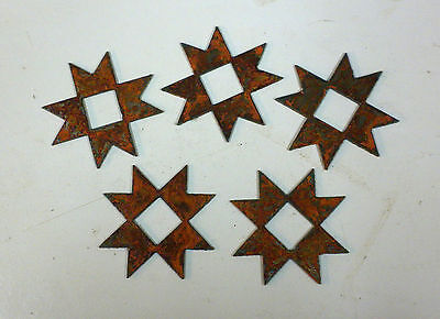 "Lot of 5 Quilt Block Shapes 3"" Rough Rusty Metal Vintage Stencil Ornament Craft"