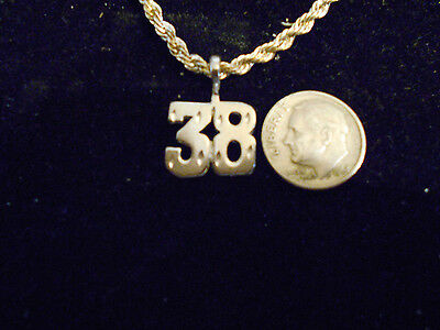 bling SILVER plated fashion jewelry number 38 pendant charm hip hop necklace AIM