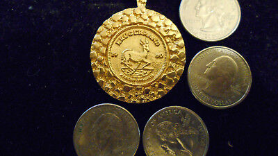 bling gold plated lucky money casino old 1980 KRUGERRAND pendant charm necklace