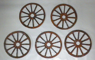 Lot of 5 Wagon Wheels 3 Inch Rough Rusty Metal Vintage Stencil Ornament Magnet