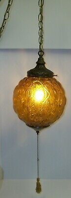 Vintage Mid Century Hollywood Regency Amber Glass Swag Chain Lamp with Diffuser