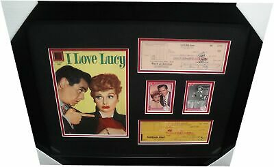Lucille Ball & Desi Arnaz Signed Personal Checks Framed w/ Comic I Love Lucy D4