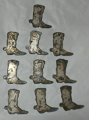 Lot of 10 Cowboy Boots 2 Inch Rusty Metal Vintage Craft Stencil Ornament Magnet