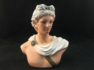 Vintage Apollo Belvedere Bust - Greek / Roman Statue-Painted In Color-7 In. Tall