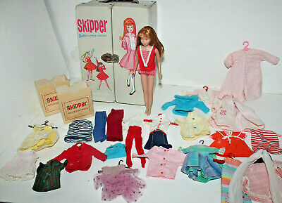 NICE! Vintage 1963 Skipper Doll Lot with Case & Clothes Barbie's Little Sister