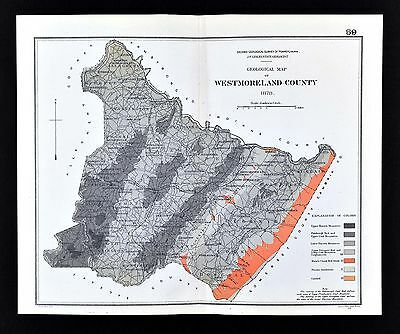 1878 Geological Map Westmoreland County Pennsylvania by Lesley Geology Survey PA