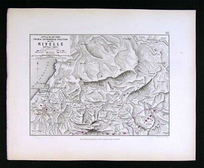 1855 Johnston Military Map Napoleon Battle of Nivelle French Entrenchment France