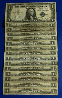 1935D-1957B $1 Blue SILVER Certificates x424 Set of 15 Assorted! Rough Currency