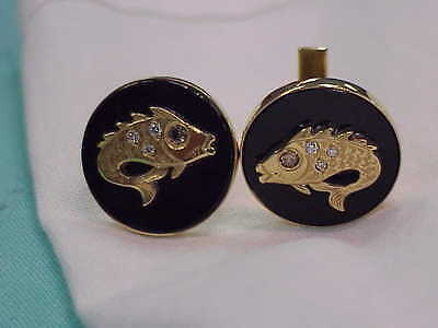Vintage 14K Solid Gold Champagne Diamond & Onyx Fish Cufflinks Marked M & N