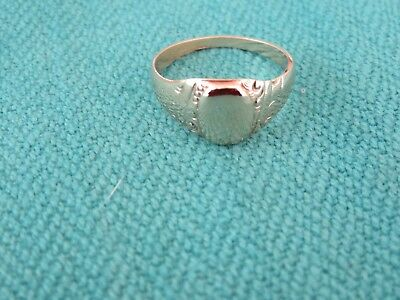 Art Deco 14K Yellow Gold Etched Signet Ring Sz 6 3/4 Very Old