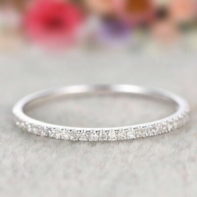 Women Silver Rings Stackable Eternity Rose Gold Plated Wedding Promise Jewelry
