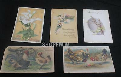 Lot of 5 Antique Vintage Easter Postcards Early 1900's