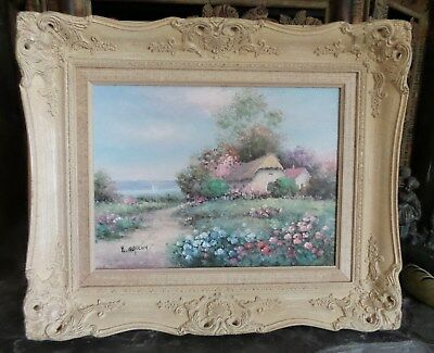 """Original Oil Painting """"Cottage By The Sea"""" Framed And Signed H. Gailey"""