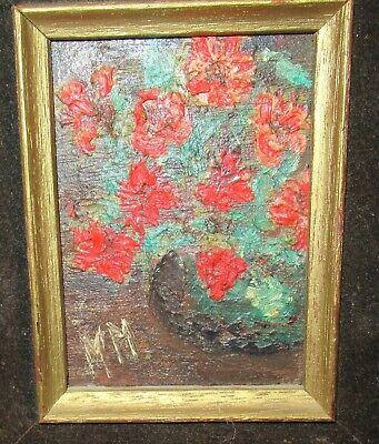 Mm Small Oil On Board Roses In A Vase Painting Signed